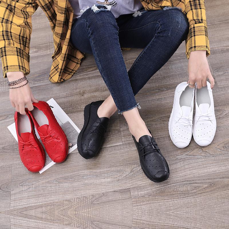 内增高平底鞋 新款洋气女鞋2019春季潮流透气防滑板鞋平底内增高百搭小白鞋镂空_推荐淘宝好看的女内增高平底鞋
