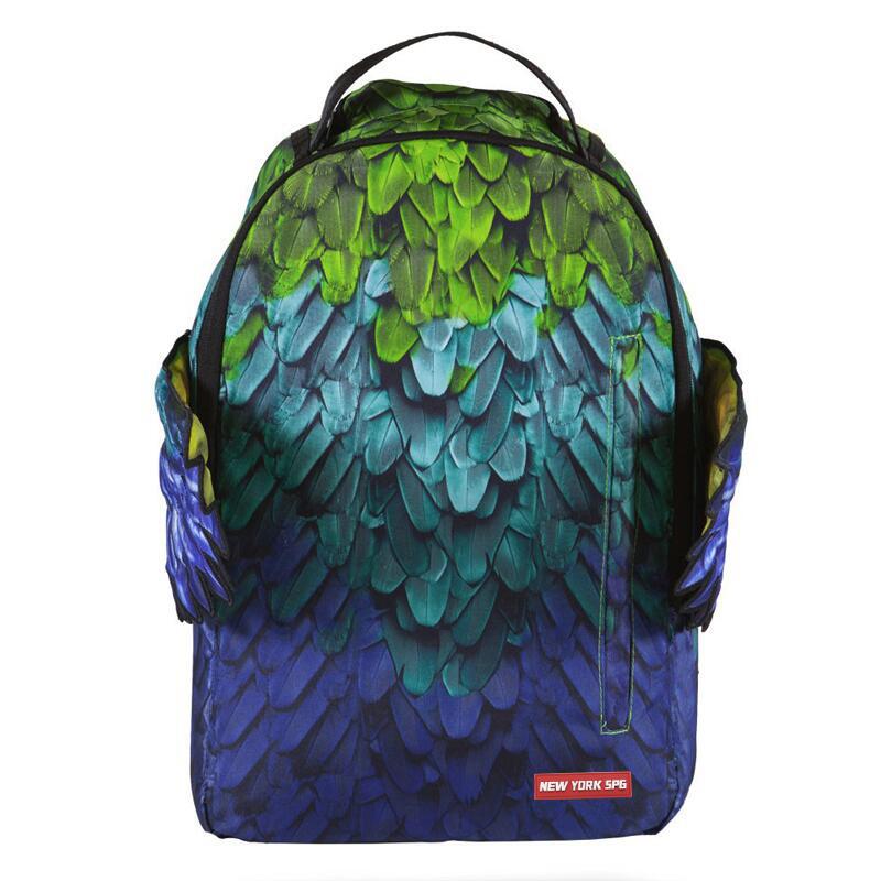 绿色双肩包 美式潮牌正品天堂之翼双肩包高中学生书包绿色羽毛翅膀背包旅行包_推荐淘宝好看的绿色双肩包