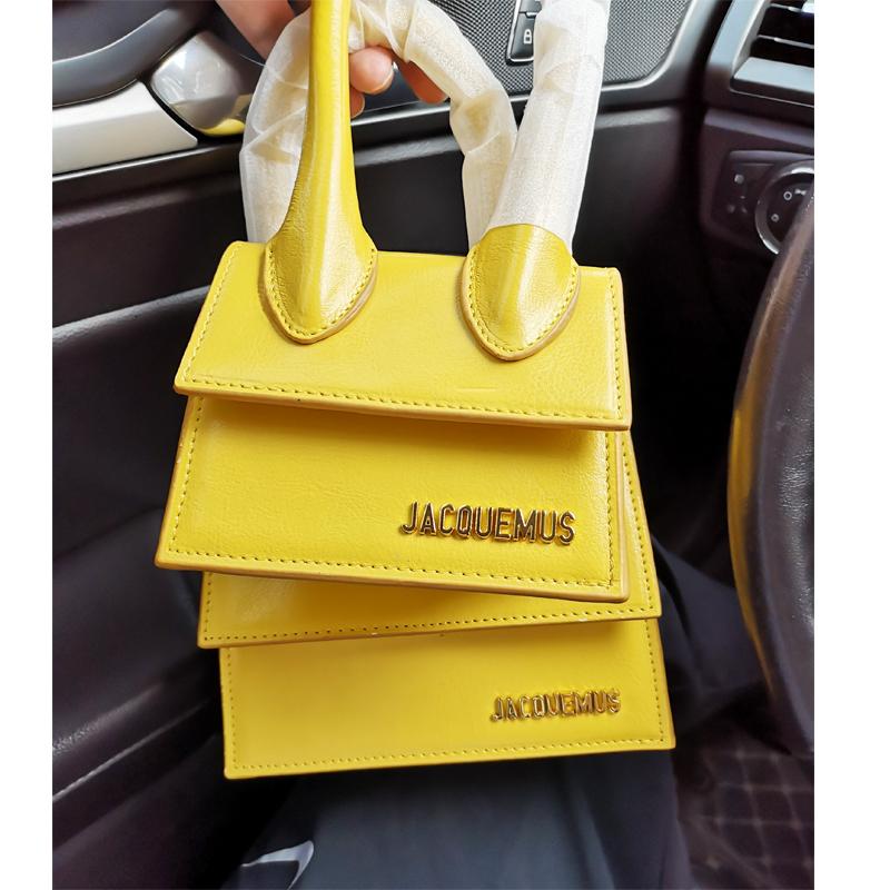 黄色斜挎包 jacquemus上新ins超火单肩斜挎手提迷你时尚磨砂黄色mini小包包女_推荐淘宝好看的黄色斜挎包