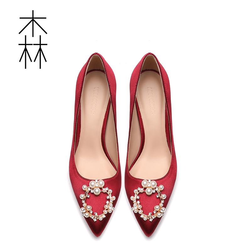 红色单鞋 2019春季新款伴娘新娘结婚鞋女尖头珍珠水钻细跟单鞋红色高跟鞋女_推荐淘宝好看的红色单鞋