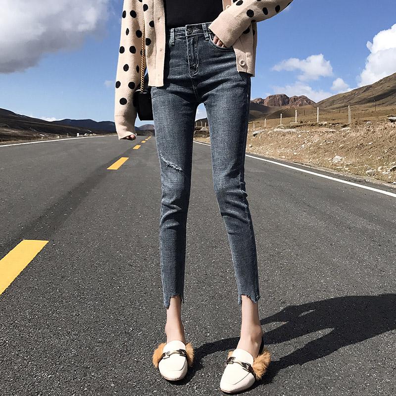 高腰牛仔裤 夏季新款八分牛仔裤女高腰弹力破洞150cm矮小个子薄款九分小脚裤_推荐淘宝好看的女高腰牛仔裤