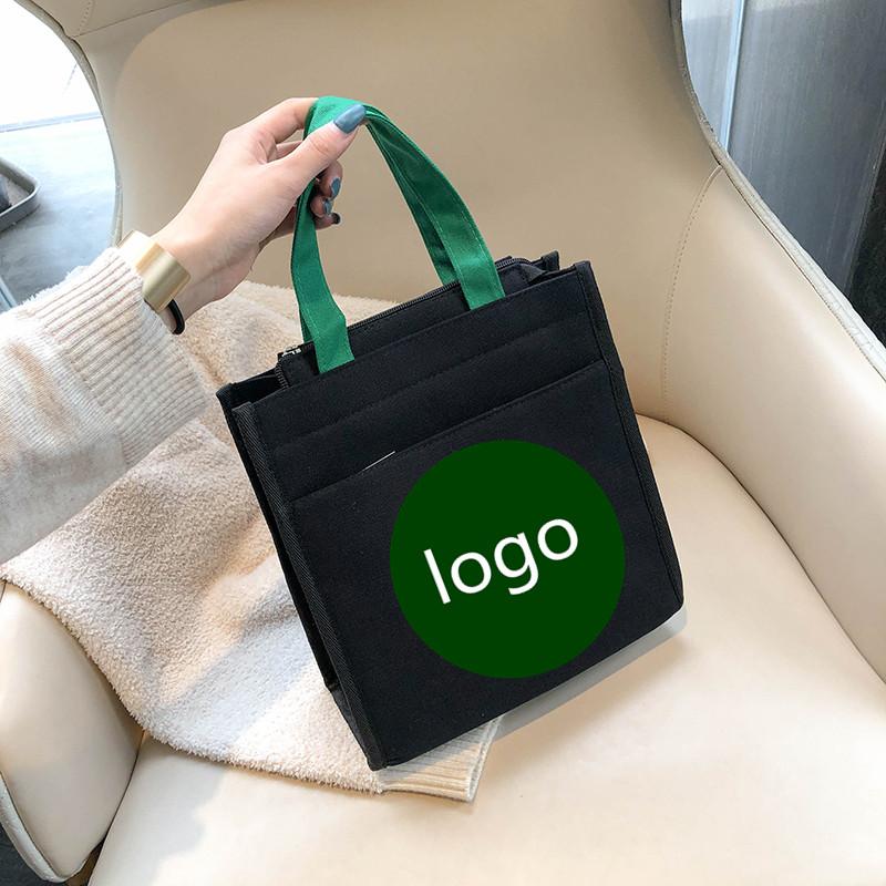 帆布包包 帆布包包女2020冬季新款时尚潮流印花大容量托特包休闲饭盒手提包_推荐淘宝好看的女帆布包包
