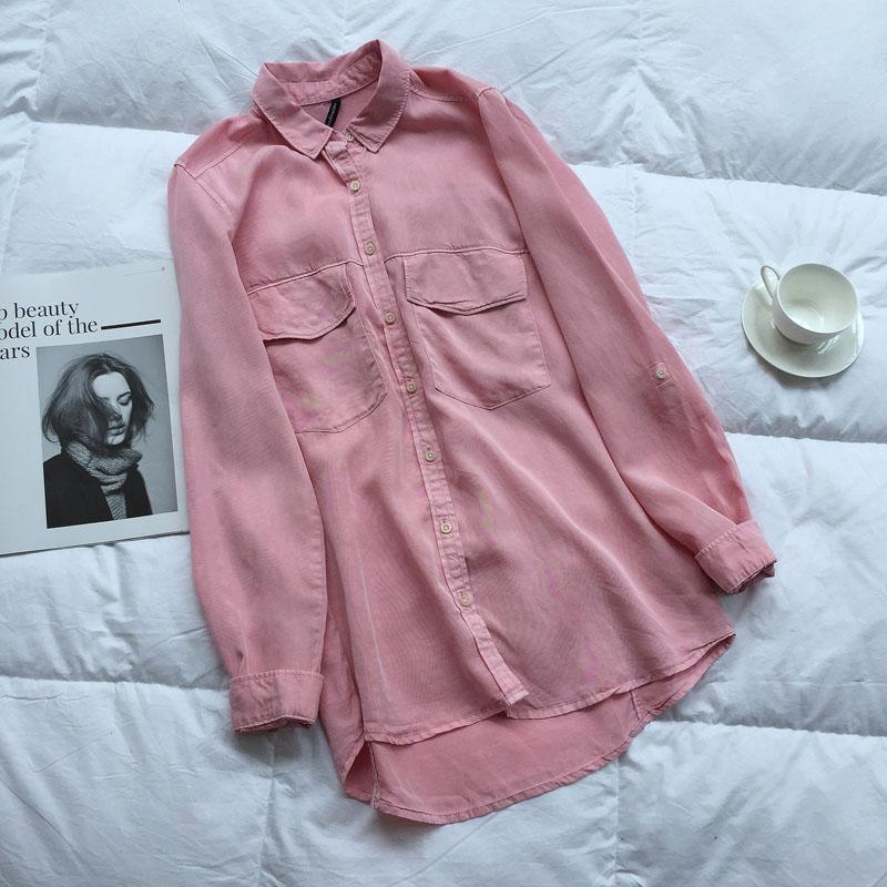 长袖牛仔衬衫 天丝牛仔衬衫女春新款长袖大口袋粉色水洗宽松显瘦中长款学生上衣_推荐淘宝好看的女长袖牛仔衬衫