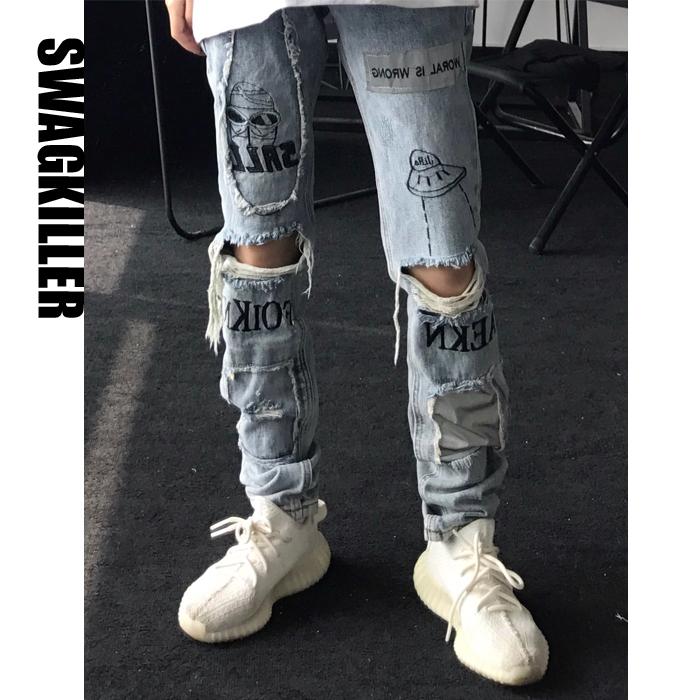 直筒牛仔裤 SwagKiller 高街破洞牛仔裤男女情侣涂鸦外星人飞船磨破宽松直筒_推荐淘宝好看的女直筒牛仔裤