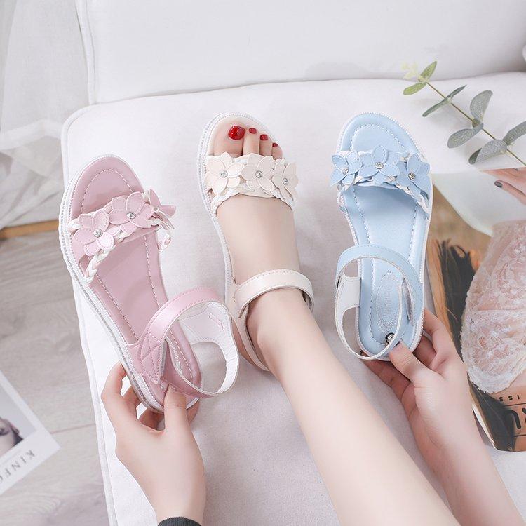 粉红色凉鞋 10粉红色11-12蝴蝶结甜美公主少女鞋13-14大童15岁小学生穿的凉鞋_推荐淘宝好看的粉红色凉鞋