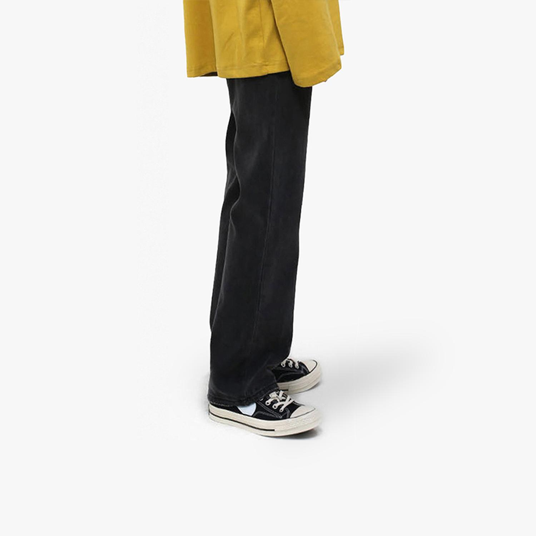 宽松牛仔裤男 DMSPACE#黑灰色复古经典常规基本款牛仔裤日系宽松直筒长裤男士潮_推荐淘宝好看的宽松牛仔裤男