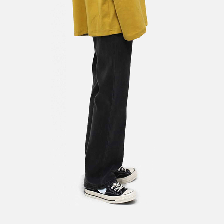 男士直筒牛仔裤 DMSPACE#黑灰色复古经典常规基本款牛仔裤日系宽松直筒长裤男士潮_推荐淘宝好看的男直筒牛仔裤