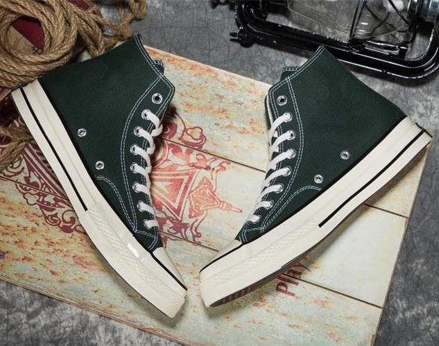 绿色帆布鞋 韩版街拍经典1970s三星标复古墨绿色高帮帆布鞋情侣潮鞋男女板鞋_推荐淘宝好看的绿色帆布鞋