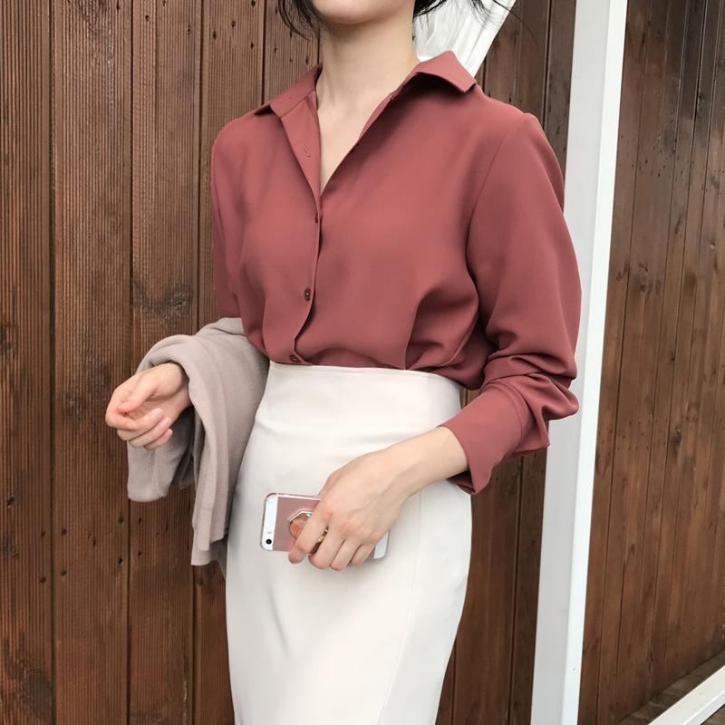 红色雪纺衫 雪纺衬衫女2021春季新款韩版宽松打底砖红色简约气质衬衣百搭上衣_推荐淘宝好看的红色雪纺衫