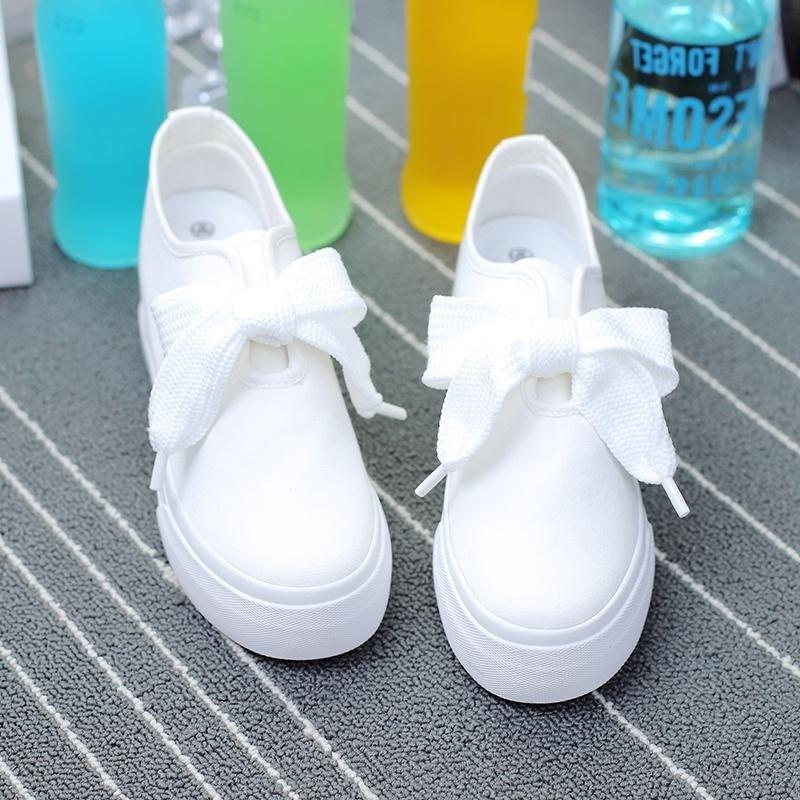 帆布鞋 韩国网红白色内增高帆布鞋女百搭系带小白鞋休闲布鞋厚底松糕板鞋_推荐淘宝好看的女帆布鞋