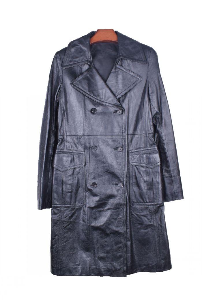 牛皮皮衣 vintage古着孤品韩版中长款 牛皮真皮休闲双排扣皮衣风衣女外套12_推荐淘宝好看的牛皮皮衣女