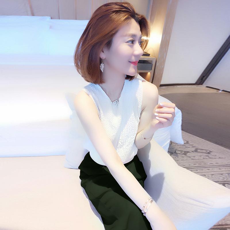V领无袖t恤 欧洲站夏装女2020新款欧货潮时尚气质宽松休闲白色无袖v领T恤上衣_推荐淘宝好看的女V领无袖t恤