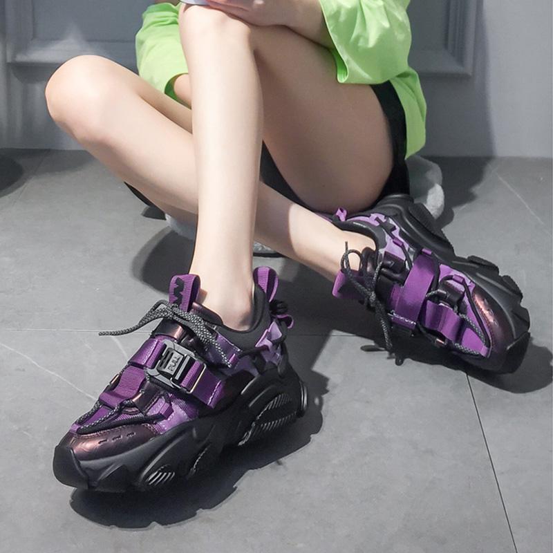 紫色厚底鞋 欧洲站女鞋2020春季新款真皮松糕鞋女厚底运动休闲鞋紫色老爹鞋潮_推荐淘宝好看的紫色厚底鞋