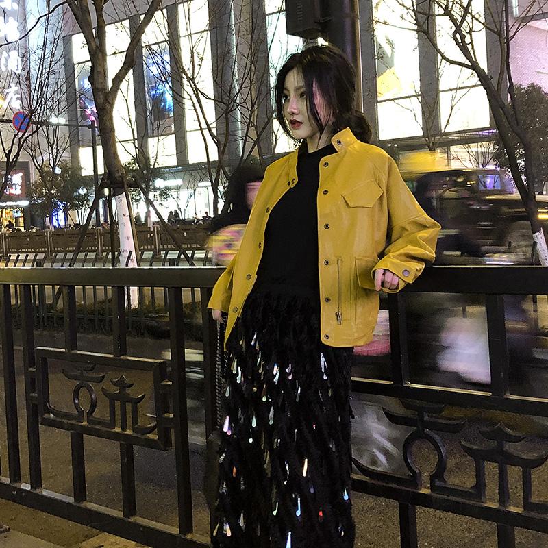黄色皮衣 小众宽松bf皮衣棒球服皮夹克机车服短外套女飞行服潮2020春秋新款_推荐淘宝好看的黄色皮衣