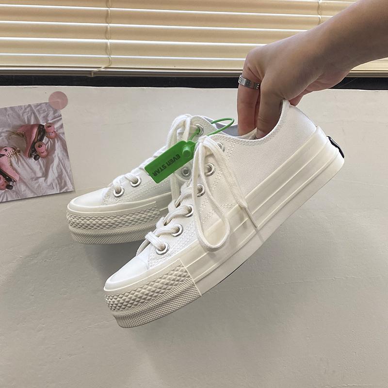 紫色厚底鞋 小白鞋夏季薄款2020新款厚底白色帆布鞋女网红紫色板鞋洋气_推荐淘宝好看的紫色厚底鞋
