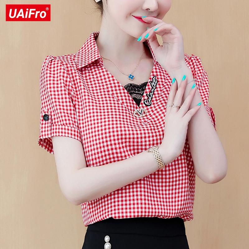 红色格子衬衫 雪纺衬衫女装2020新款格子夏装新品很仙的上衣衬衣洋气短袖设计感_推荐淘宝好看的女红色格子衬衫