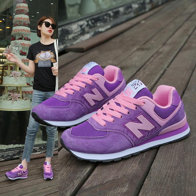 紫色平底鞋 正品士百伦z运动鞋2020新款女平底鞋紫色百搭网面女士休闲跑步鞋_推荐淘宝好看的紫色平底鞋