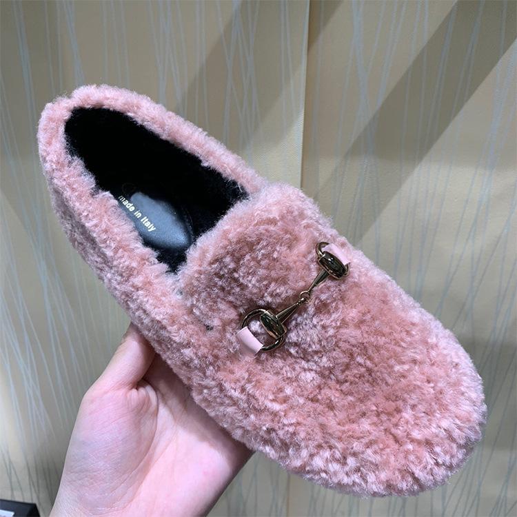 粉红色平底鞋 2019冬季新款粉红色保暖羊羔毛皮毛一体平底赖人毛毛鞋女真皮单鞋_推荐淘宝好看的粉红色平底鞋