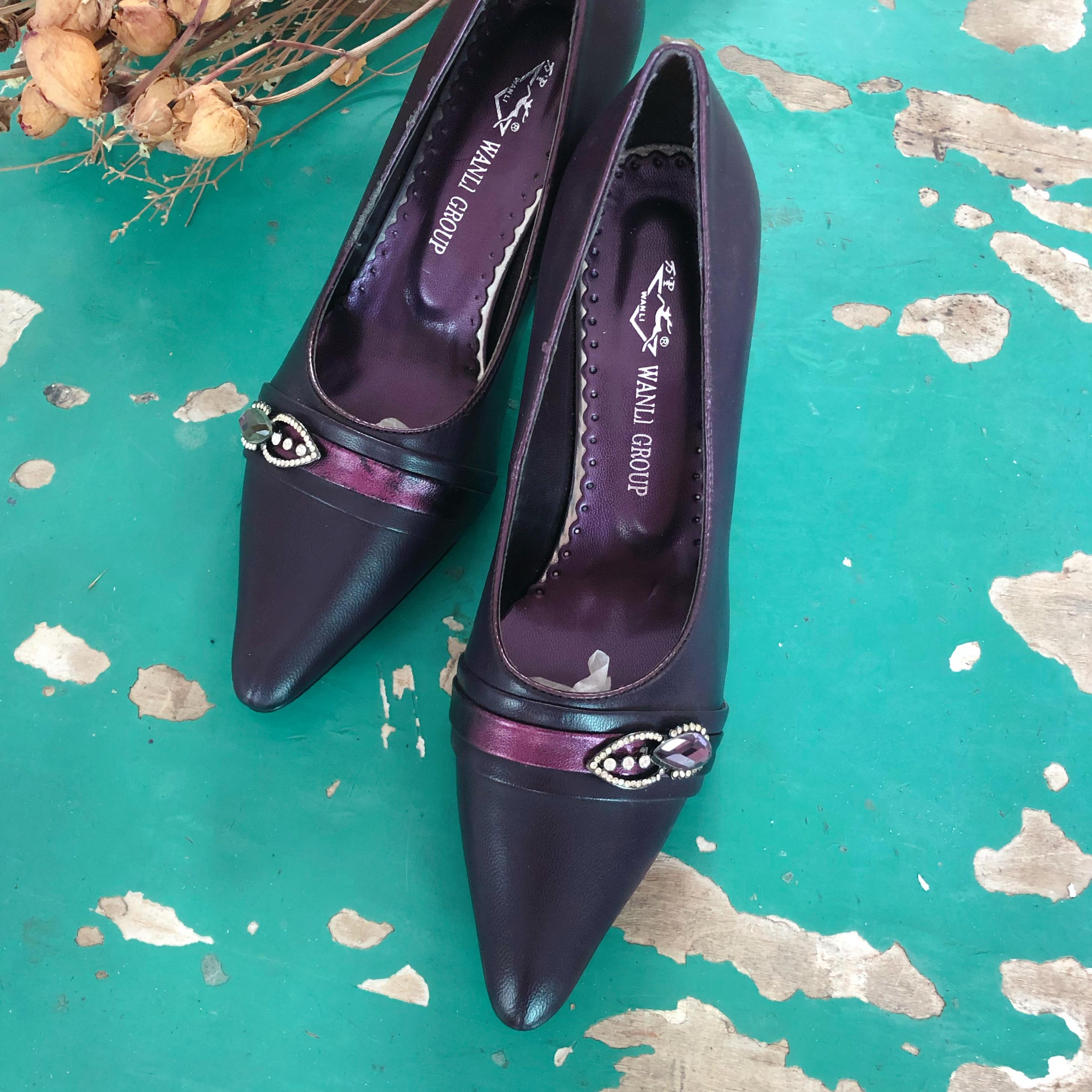 紫色尖头鞋 vintage复古港风紫色优雅小尖头古着鞋WL_推荐淘宝好看的紫色尖头鞋