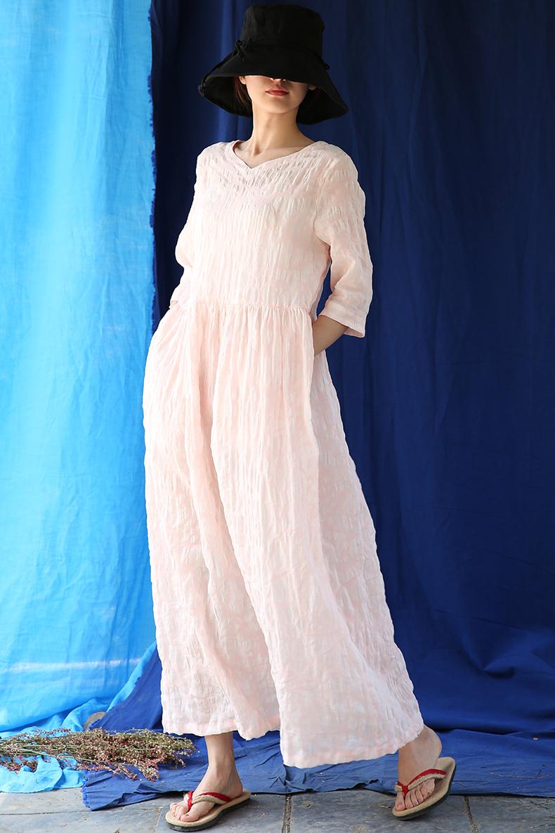 七分袖连衣裙 【东方豆蔻】原创连衣裙虾粉色盐缩纯棉圆领七分袖宽松套头长裙_推荐淘宝好看的七分袖连衣裙