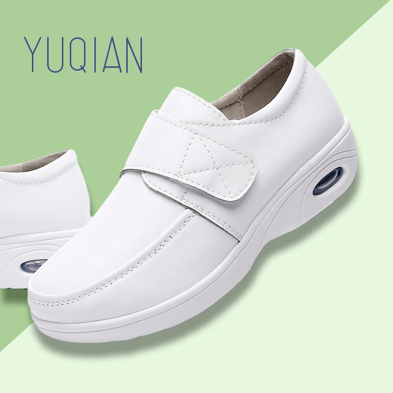 白色平底鞋 护士鞋女白色夏季软底增高透气垫舒适不累脚平底坡跟春秋医护工作_推荐淘宝好看的白色平底鞋
