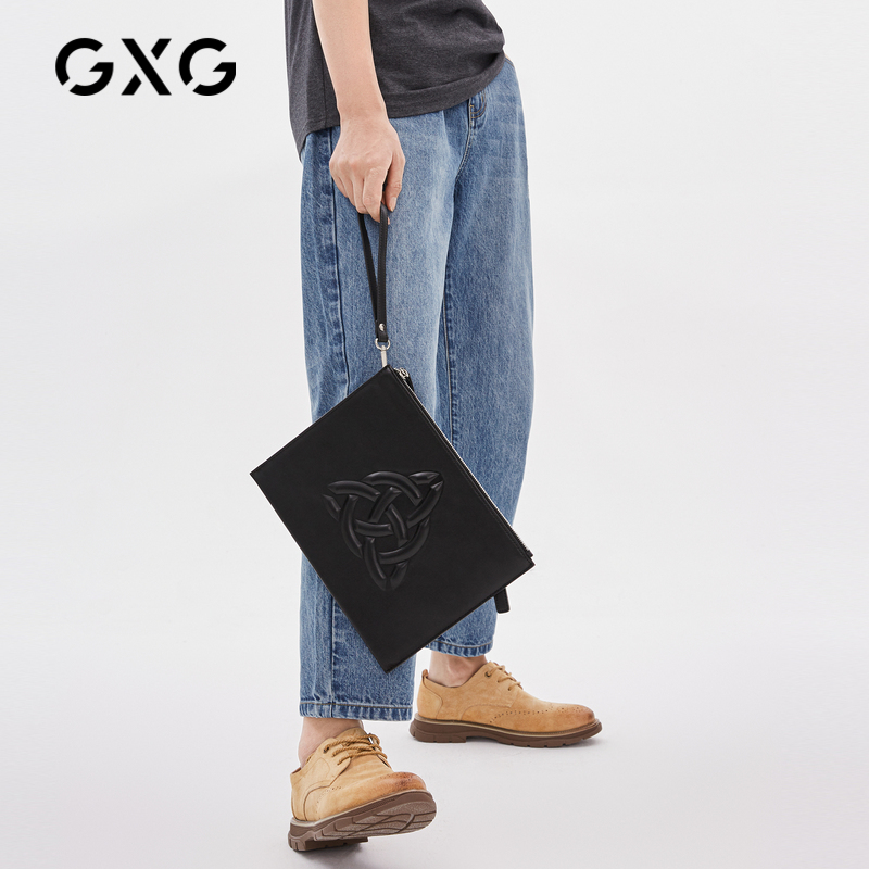 黑色信封包 GXG手包男士休闲信封包大容量男款手拿包潮流黑色手包_推荐淘宝好看的黑色信封包