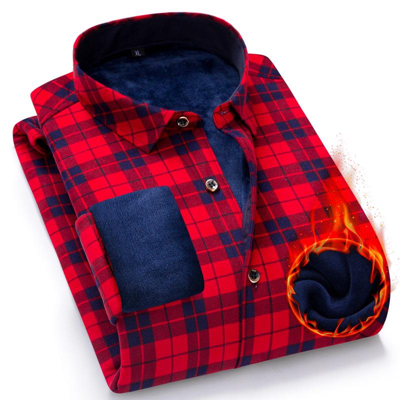 格子男式衬衫 秋冬季男式加绒加厚保暖长袖衬衫磨毛大红黑方格子有带毛绒双面绒_推荐淘宝好看的格子男式衬衫