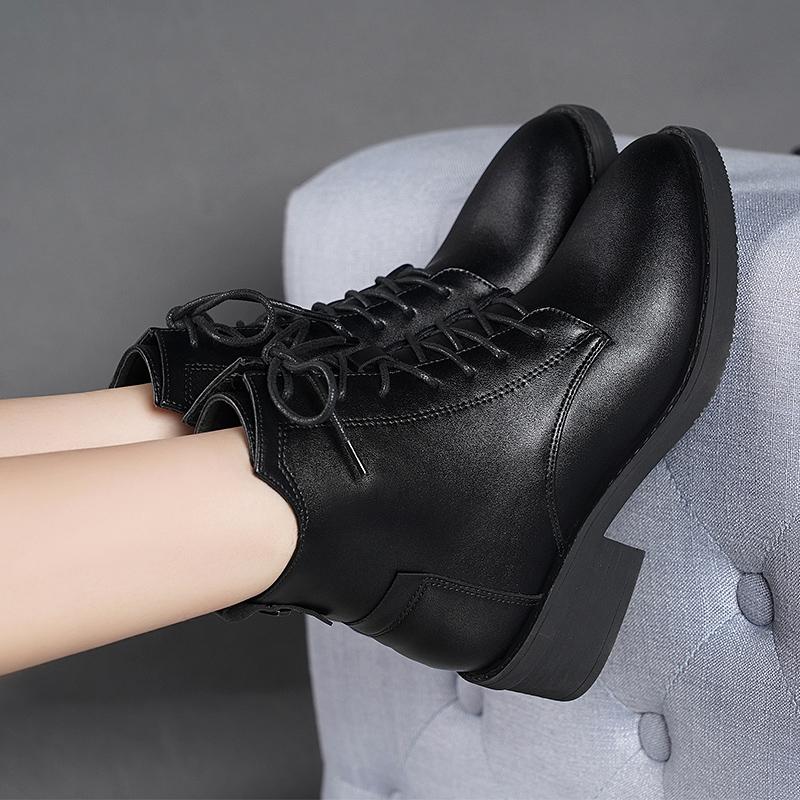 英伦短靴 足意尔康2020秋冬季新款真皮马丁靴女英伦风百搭厚底机车靴短靴子_推荐淘宝好看的女英伦短靴