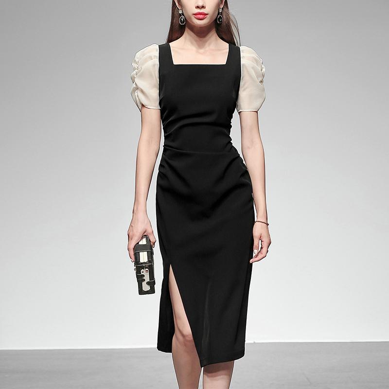 黑色连衣裙 夏季女装2021新款气质性感修身黑色长裙短袖显瘦中长款连衣裙_推荐淘宝好看的黑色连衣裙