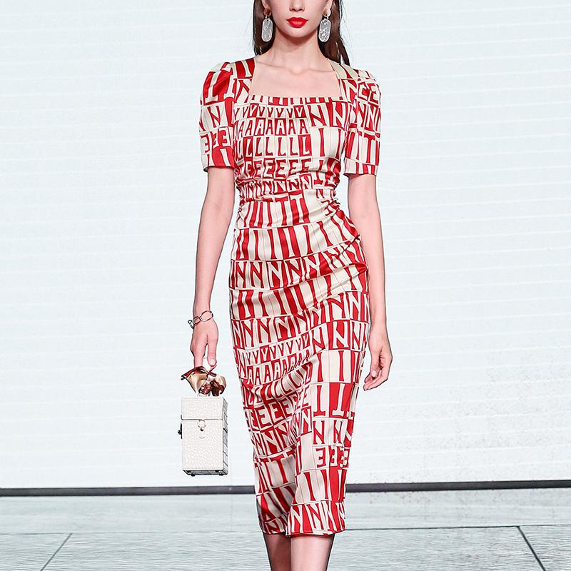 淘宝欧时力女装 夏季2021新款女装气质性感修身长裙短袖显瘦中长款缎面连衣裙_推荐淘宝好看的欧时力女装