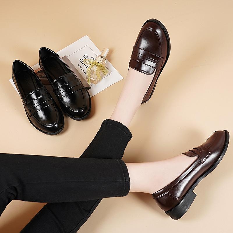 女士平底鞋 小皮鞋女2020雪地意尔康真皮百搭乐福鞋学院英伦风软皮平底单鞋_推荐淘宝好看的女平底鞋