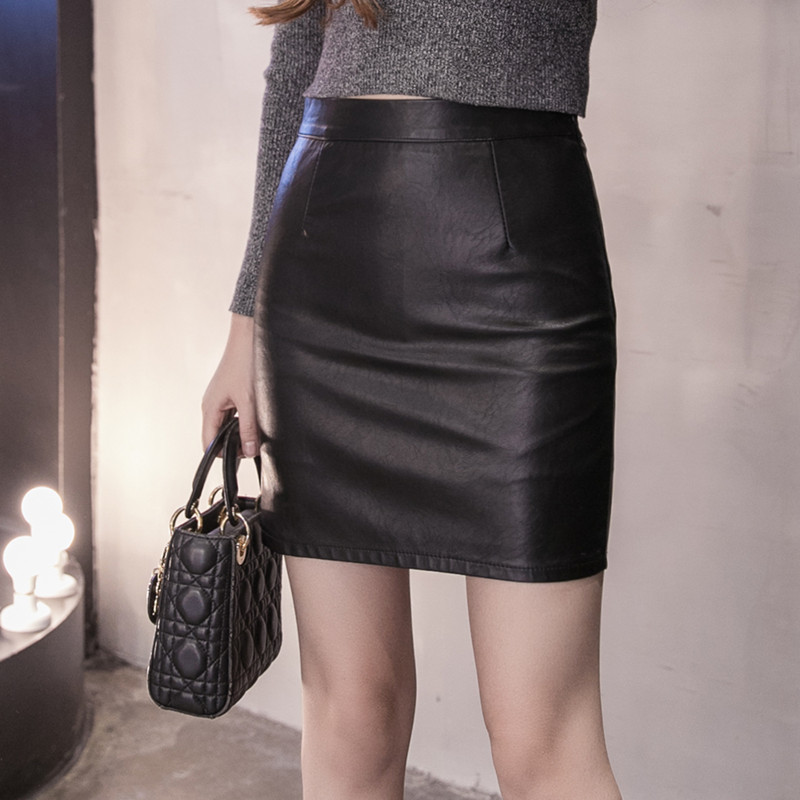 女半身裙 PU皮裙半身裙2021秋冬新款显瘦包臀裙百搭高腰黑色皮短裙子一步裙_推荐淘宝好看的半身裙