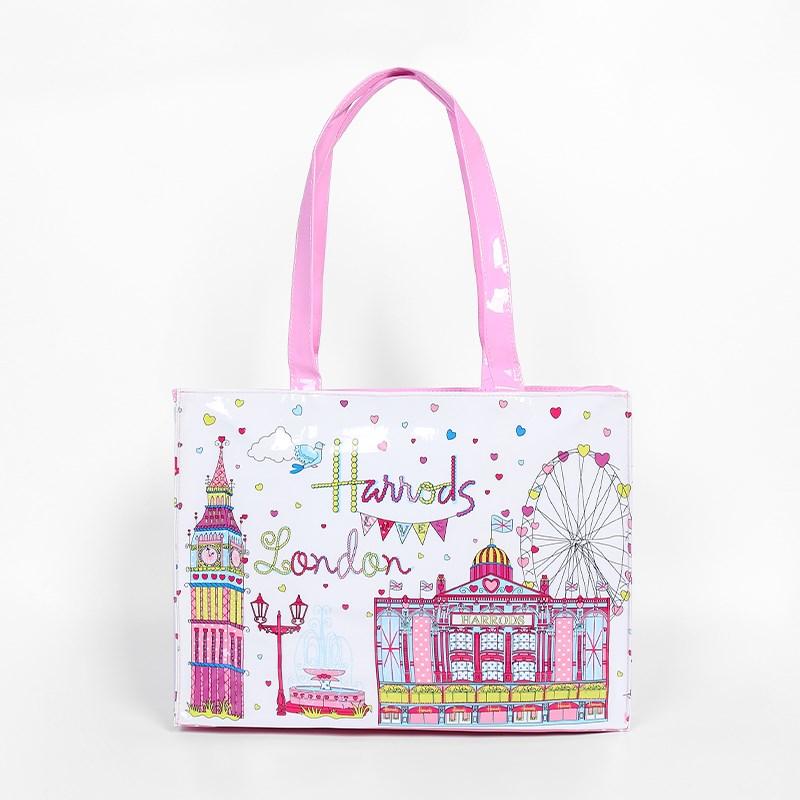 女式英伦手提包 欧洲英伦名品购物袋环保PVC印花大容量防水时尚手提包女包袋大号_推荐淘宝好看的女英伦手提包