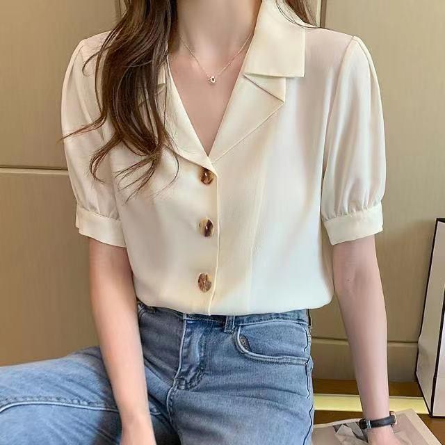 女士白色短袖衬衫 夏季短袖白衬衫女设计感小众雪纺上衣女夏白色工作服衬衣_推荐淘宝好看的女白色短袖衬衫