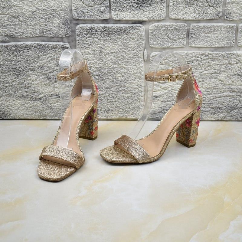 罗马凉鞋 外贸女鞋出口原单粗跟罗马鞋真皮夏季百搭高跟一字式气质露趾凉鞋_推荐淘宝好看的女罗马凉鞋
