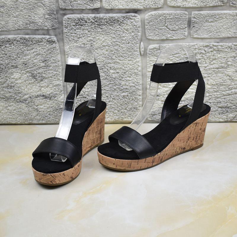 坡跟凉鞋 外贸原单女鞋厚底防水台木纹包跟坡跟一字带脚腕松紧带套脚凉鞋_推荐淘宝好看的女坡跟凉鞋