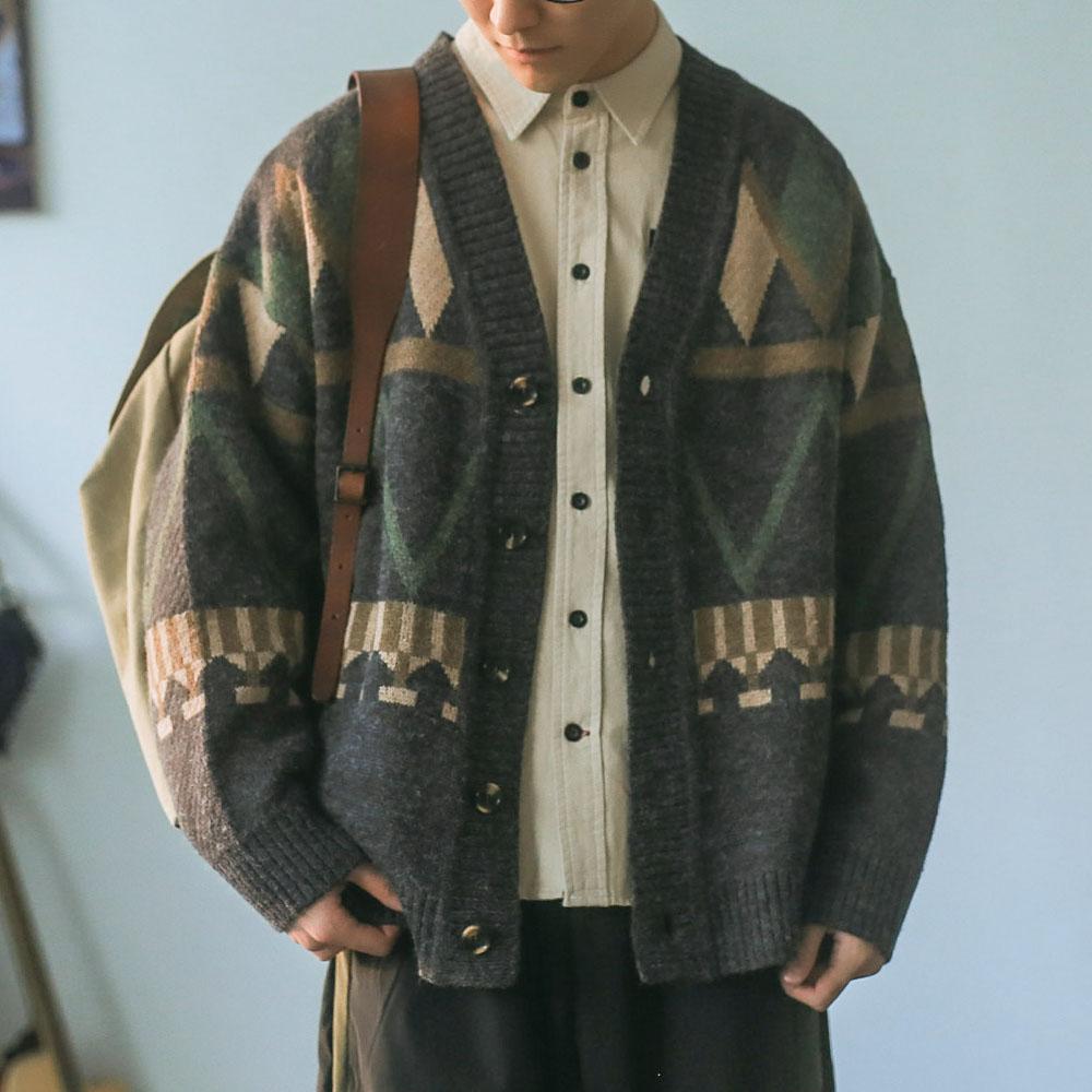 男士毛衣 嘿马七作日系秋冬季V领针织衫撞色收口线衫外套潮牌开衫毛衣男士_推荐淘宝好看的男士毛衣