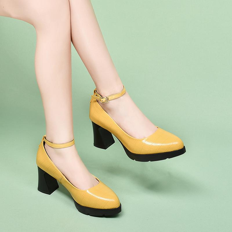 黄色厚底鞋 黄色单鞋女浅口一字扣秋鞋2020秋季新款真皮厚底防水台粗跟高跟鞋_推荐淘宝好看的黄色厚底鞋