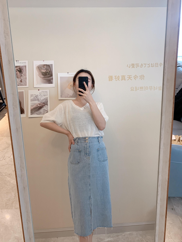 牛仔半身裙 MHE 女牛仔半身裙2020夏季新款前半开叉休闲NME74010351_推荐淘宝好看的牛仔半身裙