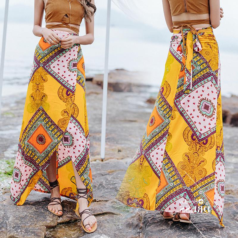 波西米亚半身裙 波西米亚民族风印花系带沙滩裙2020新款泰国海边度假半身裙长裙女_推荐淘宝好看的波西米亚半身裙