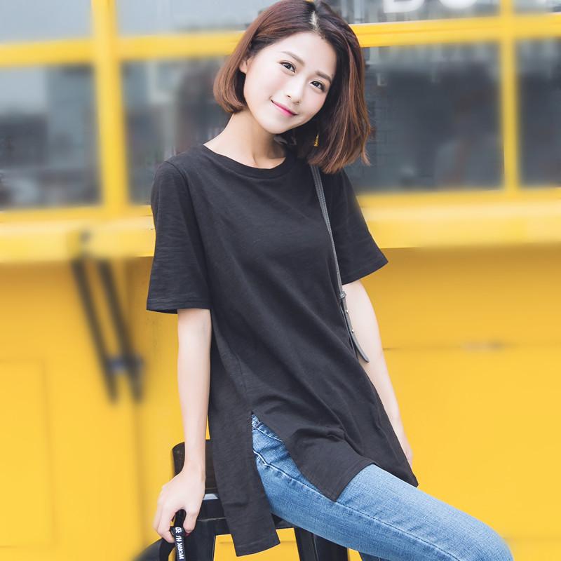 黑色T恤 短袖黑色t恤女夏季宽松休闲显瘦纯棉简约中长款两侧开叉上衣夏薄_推荐淘宝好看的黑色T恤