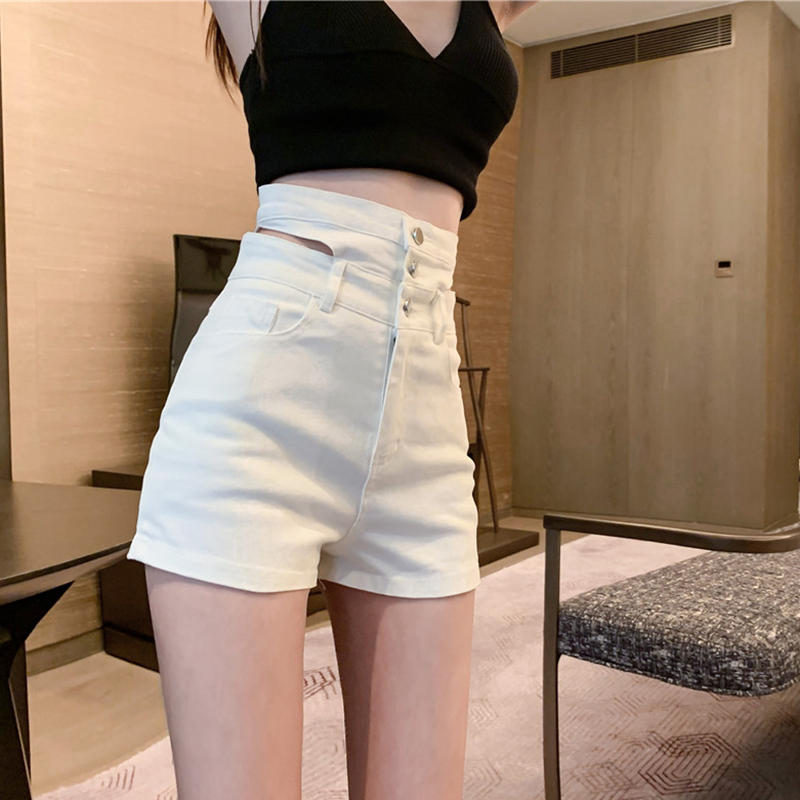 短裤 不规则牛仔裤白色短裤女高腰显瘦a字裤夏2020新款性感提臀热裤子_推荐淘宝好看的女短裤