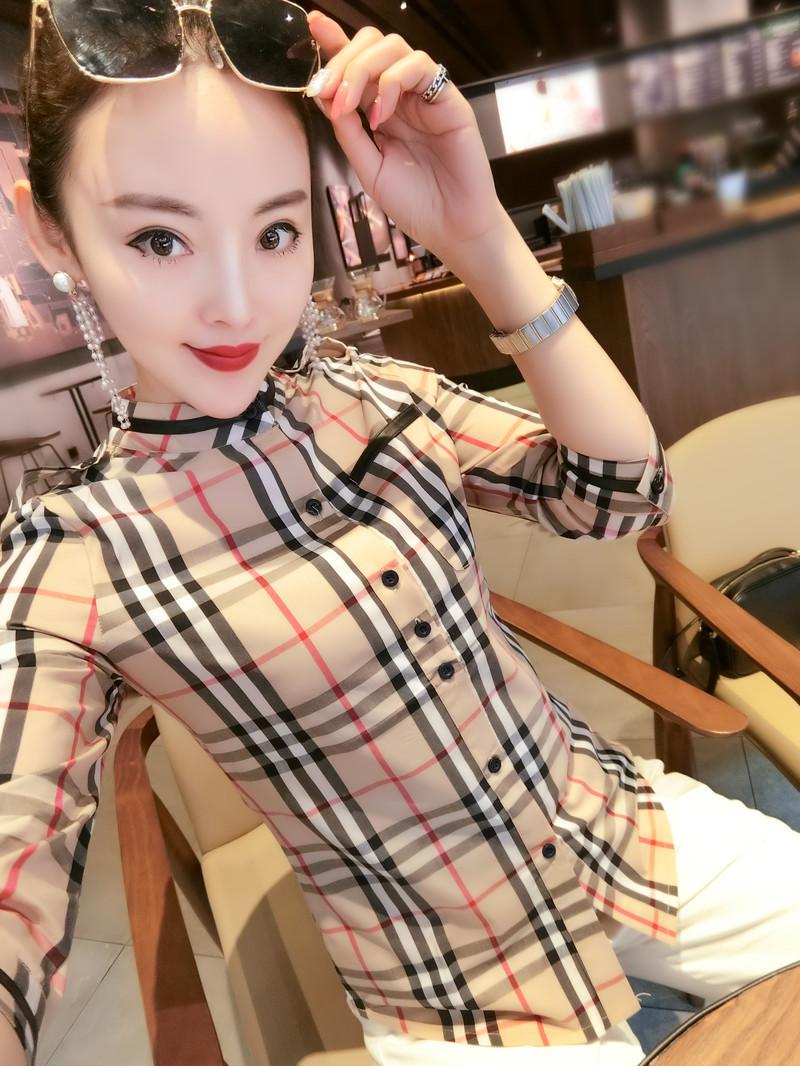 格子衬衫 格子衬衫女夏韩版修身七分袖上衣女打底衬女外穿2020新款潮小衫女_推荐淘宝好看的女格子衬衫