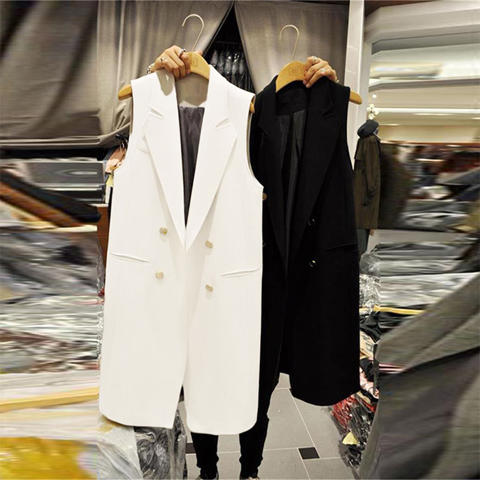 白色马甲 大码无袖修身女式马夹坎肩背心韩版白色新款中长款马甲女春秋外套_推荐淘宝好看的白色马甲