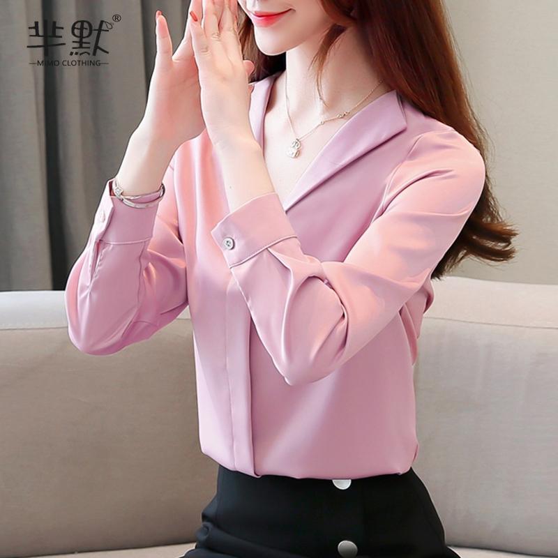 粉红色雪纺衫 2020年秋季新款上衣职业衬衫女雪纺气质韩版长袖宽松V领女士衬衣_推荐淘宝好看的粉红色雪纺衫