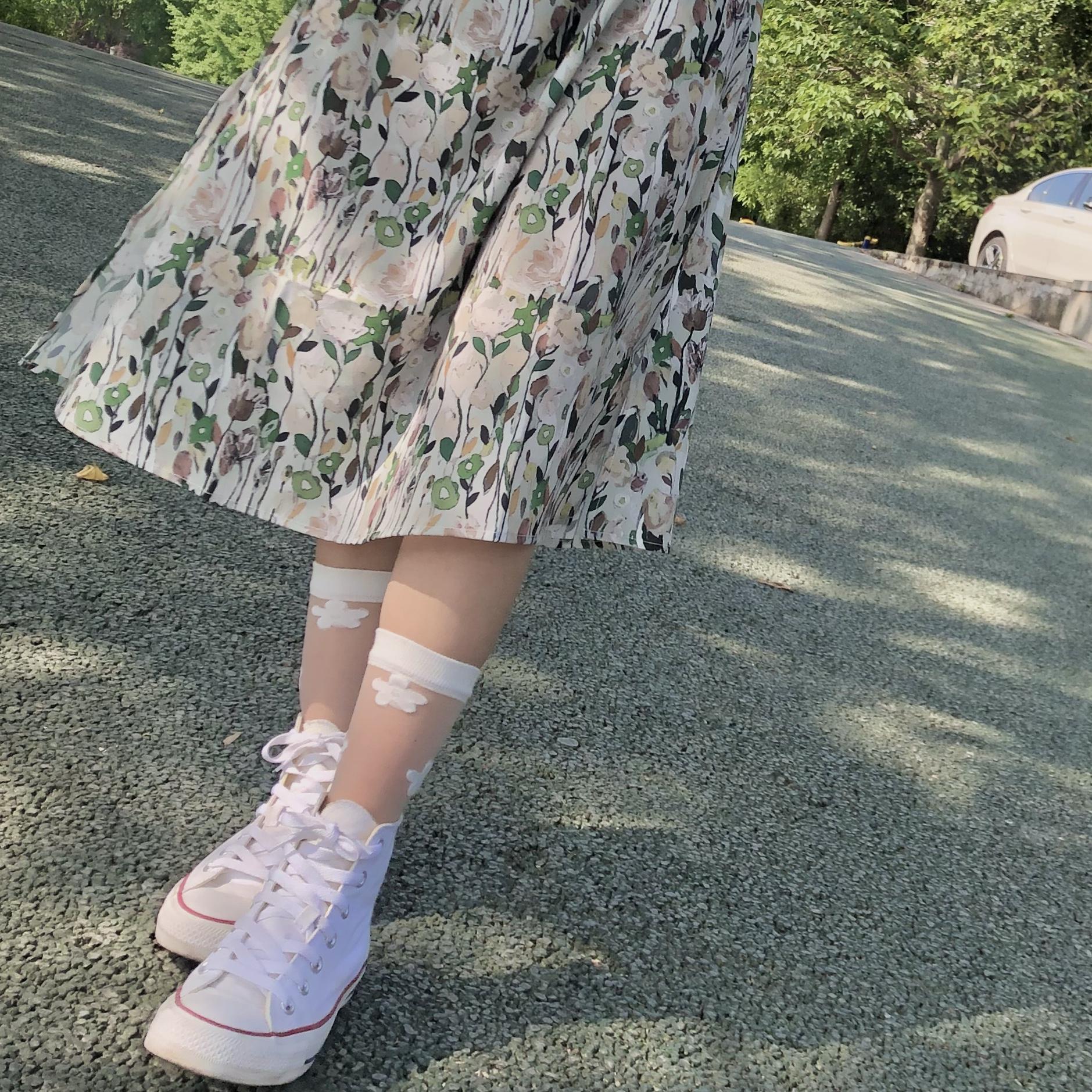 制服丝袜 VAPEDUCK玻璃丝袜子女jk制服软妹短丝袜透明花卡丝袜薄款中筒袜女_推荐淘宝好看的制服丝袜