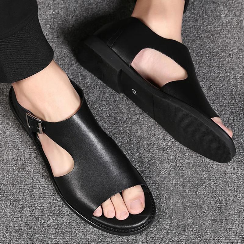 欧美罗马鞋 2021夏款奥伦男鞋真皮软牛皮凉鞋真皮拖鞋欧美潮流罗马男士鞋_推荐淘宝好看的欧美罗马鞋