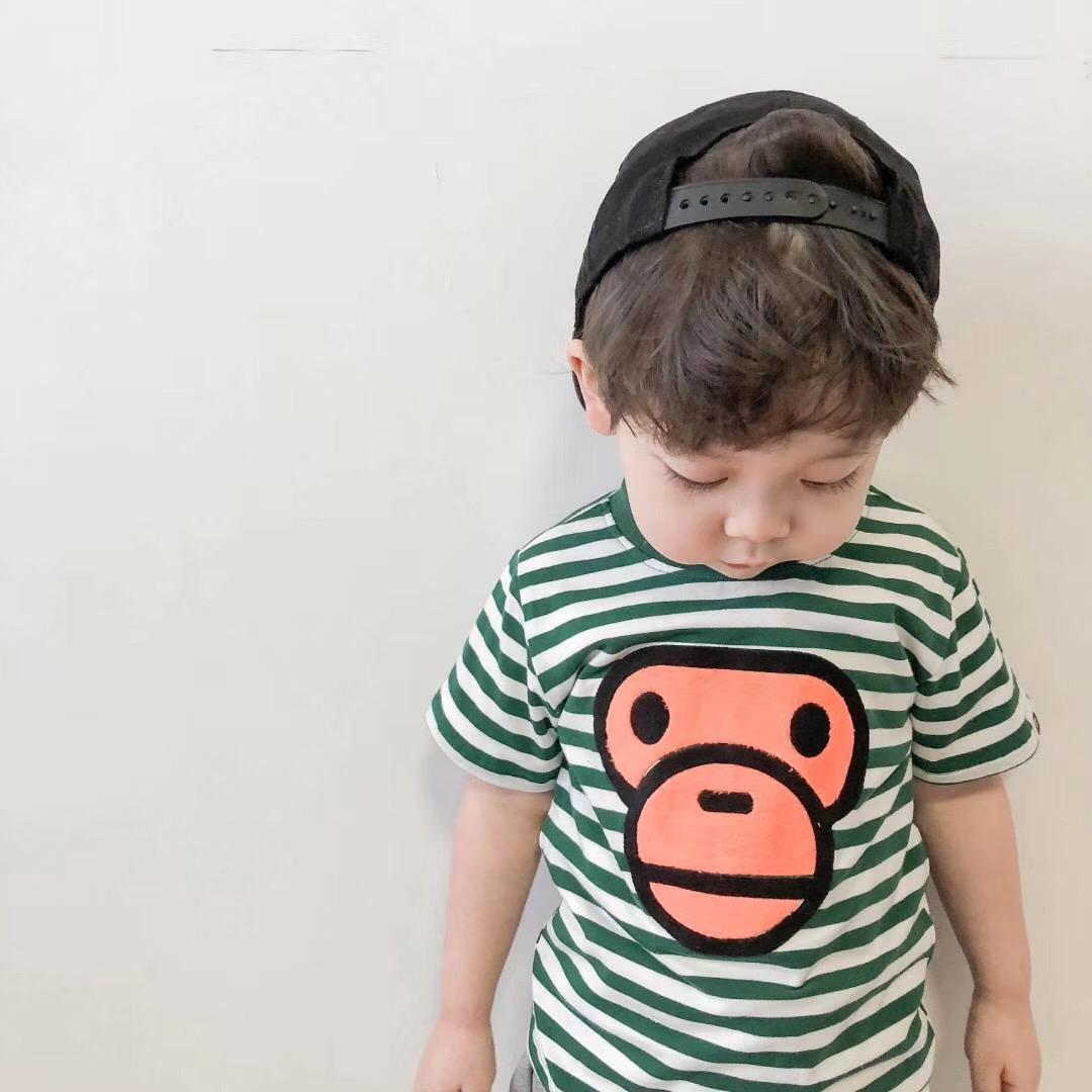条纹大嘴猴t恤 SEAN春夏新款男女儿童短袖T恤宝宝条纹大嘴猴卡通半袖上衣_推荐淘宝好看的女条纹大嘴猴t恤