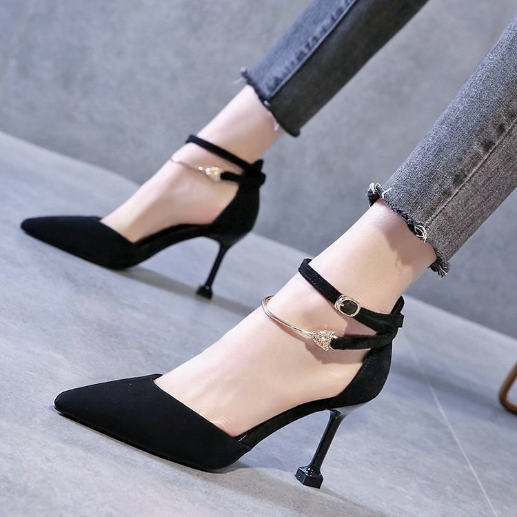 女高跟鞋 2020春新款一字扣带包头凉鞋女法式少女尖头仙女风细跟性感高跟鞋_推荐淘宝好看的女高跟鞋