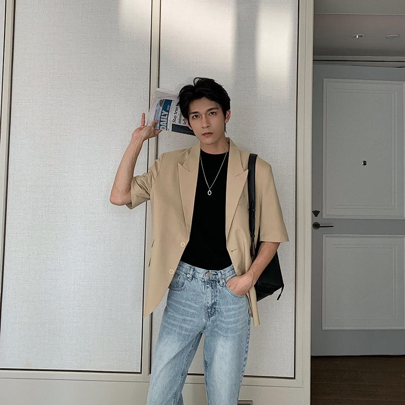 韩版男士小西装 Hualun西装外套男休闲薄款夏季帅气短袖上衣单件西服韩版潮流学生_推荐淘宝好看的韩版男士西装